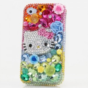 Iphone 5C Luxury 3d Swarovski Crystal Diamond Bling Sparkle Girly Case Cover Faceplate Pink Rose Princess Hello Kitty Fantasy Design (100% Handcrafted By Star33mall) (Rainbow_ 	style_B115)