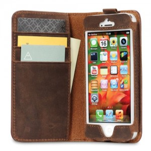 Acase Genuine Leather Wallet Case for iPhone 5S / 5 - Vintage Brown and Red